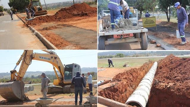 Senador Canedo: Galeria de água pluvial está sendo implantada no Jardim das Oliveiras