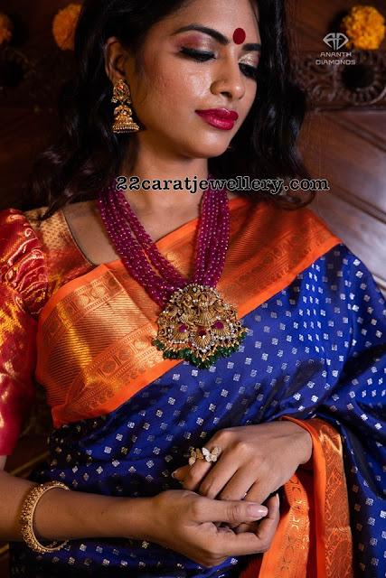 Ruby Beads Set with Radha Krishna Pendant