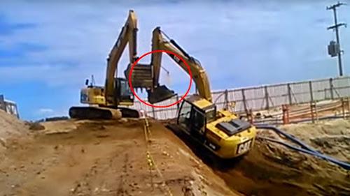 Operadores erram danificam máquina vaza óleo