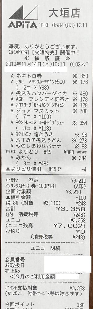 アピタ 大垣店 2019/11/14 APITAのレシート