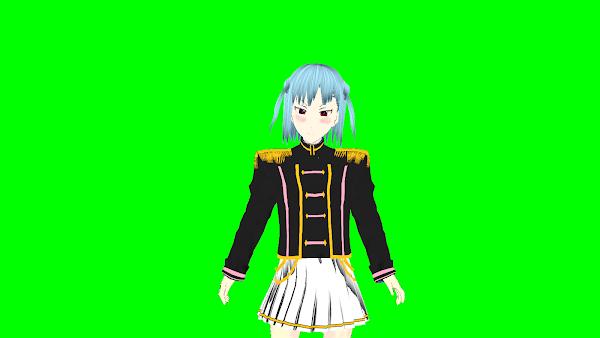 VRoidで製作した3Dモデルを「3teneFREE」で読み込ませて、VTuberとしてYouTubeに配信する際にクロマキー合成を行うために、背景を緑色にしている様子