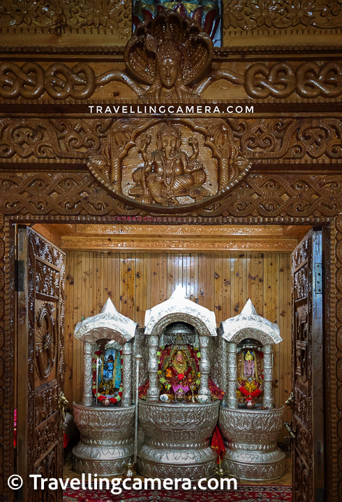 Above photograph shows the main part of the temple with Naina Devi idol decorated beautifully with silver frames and all these idols sitting inside a beautiful wooden temple having some intricate carving work. Many temples in Mandi, Kullu, Shimla, Kinnaur, Lahaul have beautiful wooden work.
