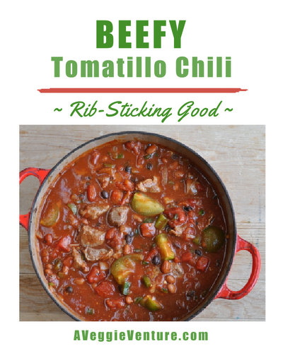 Beefy Tomatillo Chili ♥ AVeggieVenture.com, the 'sour' of tomatillos really work in chili. Weight Watchers Friendly. Low Carb.