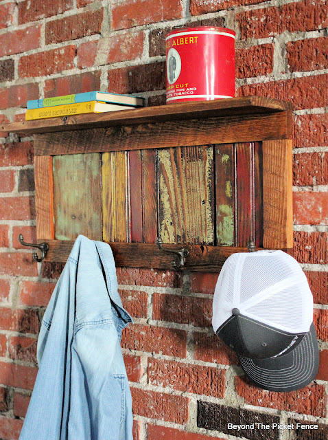 Colorful Rustic Coat Hook and Shelf