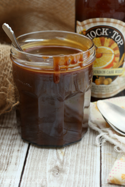 Salted Honey-Bourbon-Beer Caramel Sauce | #BeerMonth