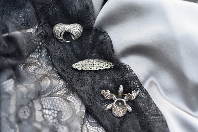 marcasite brooches silk charmeuse lace