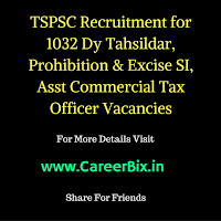 TSPSC Recruitment for 1032 Dy Tahsildar, Prohibition & Excise SI, Asst Commercial Tax Officer Vacancies