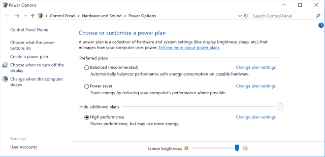 power options Optimize Windows for Gaming