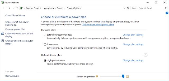 power options gaming tweaks