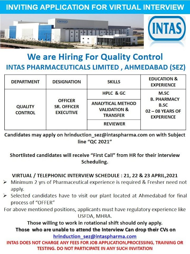 Intas Pharma | Virtual interview for QC at Ahmedabad on 21st to 23rd April 2021