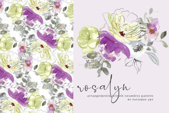 Lemon and Purple Floral Clipart Set