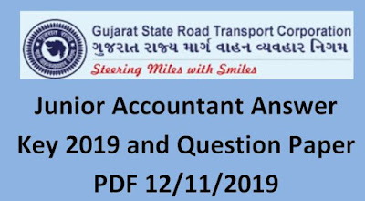 GSRTC Junior Accountant Answer Key 12/11/2019 and Question Paper PDF