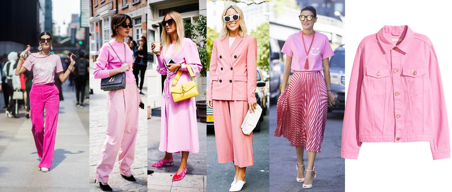 new york fashion week ss18 street style pink trend, baby pink, millennial pink