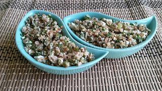 Апетитна разядка с препечени пълнозърнести трохи, варени яйца и зелени подправки