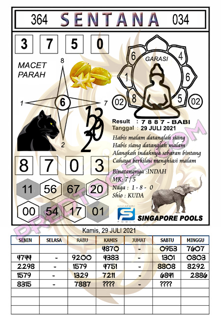Syair Sentana Singapura Kamis 29-juli-2021