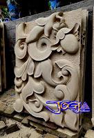 ukiran batu alam putih gambar motif sederhana yang sangat indah dan cantik
