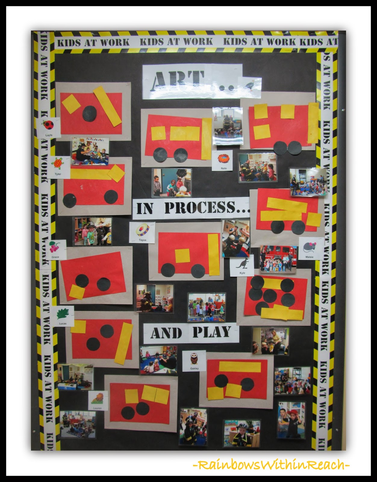 "Preschool Bulletin Board on Process + Play at ""PreK+K Sharing"""