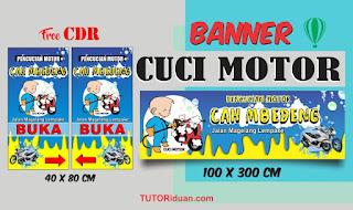 Desain Spanduk Banner Cuci Motor