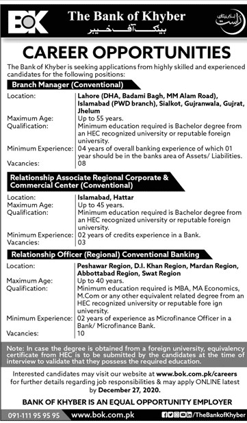 The Bank of Khyber BOK Jobs in Pakistan BOK Careers for male and female Latest Jobs Advertisement