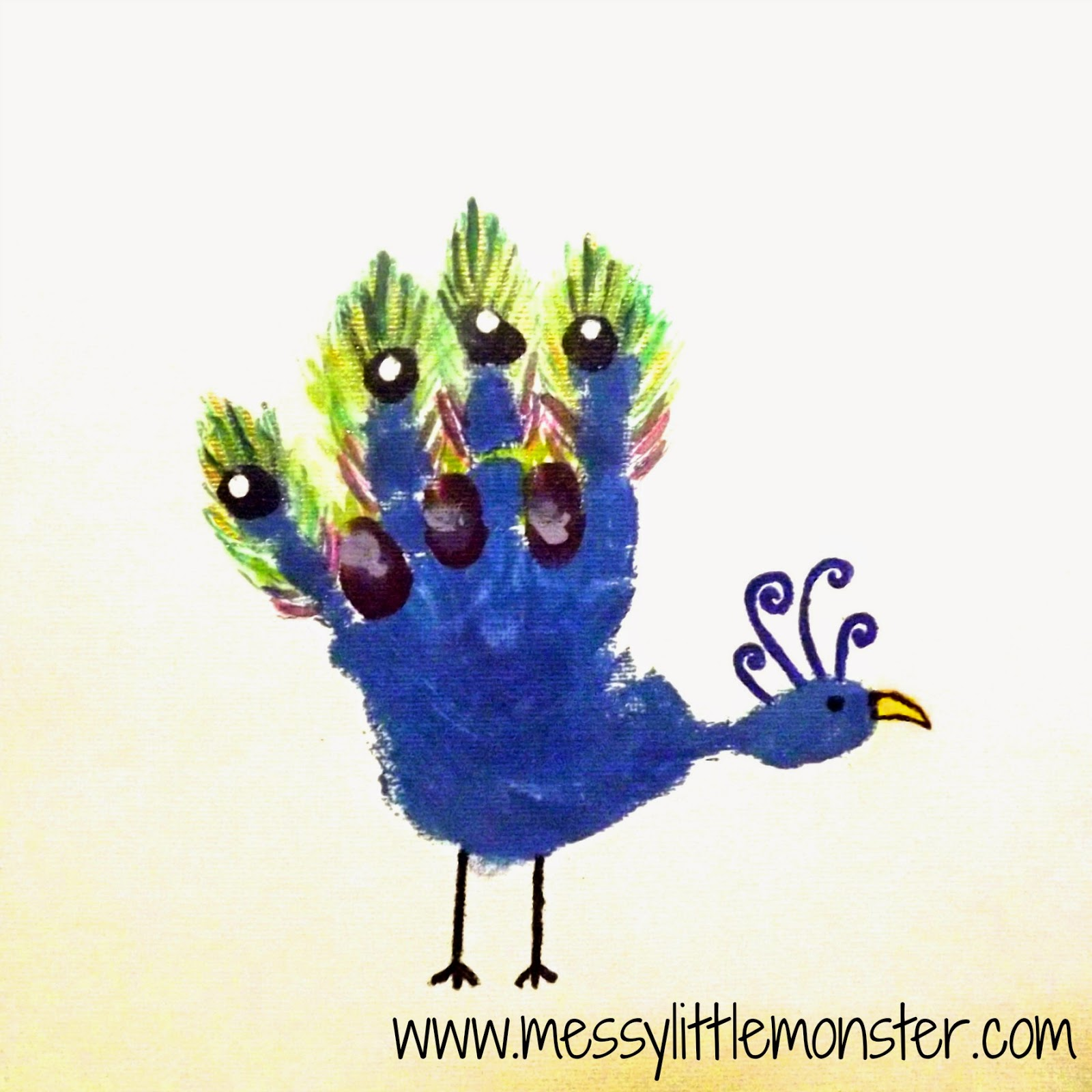 Peacock craft - Animal handprints on canvas.  Simple gift ideas for toddlers and preschoolers to make.