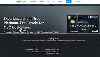 Oriental Bank of Commerce - SBI Platinum Credit Card,  How to Apply SBI Credit Card Online