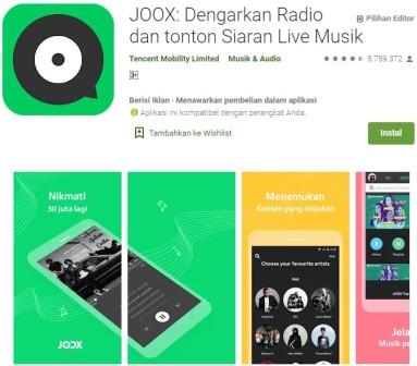 Aplikasi Joox Musik
