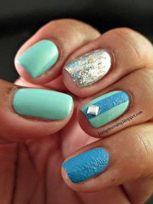 Julep Dianna, OPI Save Me, China Glaze Of Coarse!, square stud, skittle, skittlette, blue, mint, green, silver, glitter, texture, nails, nail art, nail design, mani