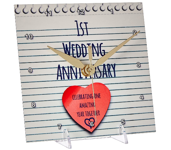 1st wedding anniversary paper desk clock