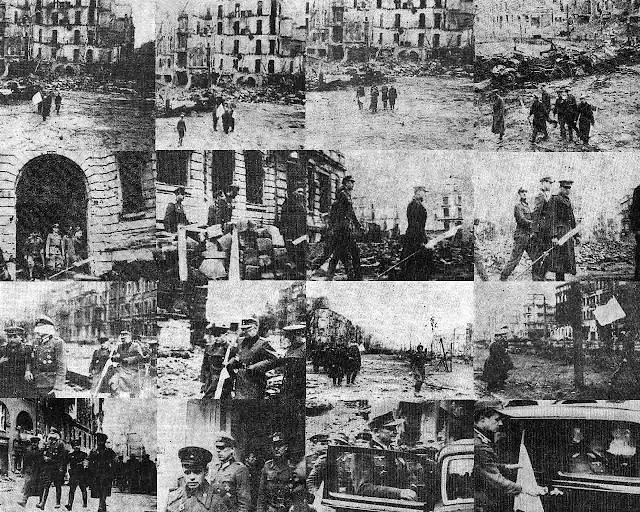 Seria zdjęć przedstawiająca spotkania parlamentariuszy radzieckich i niemieckich na ruinach Breslau