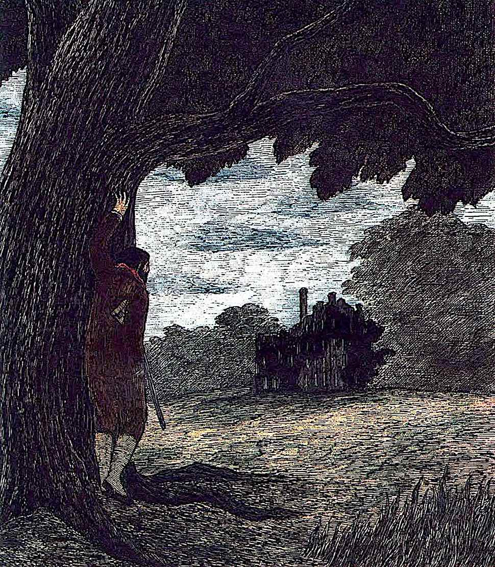 Edward Gorey, a game hunter observing an estate home from a distance