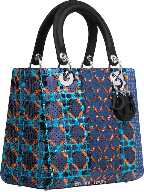 ♦Dior Lady Dior blue sequin embroidered bag #dior #bags #ladydior #brilliantluxury