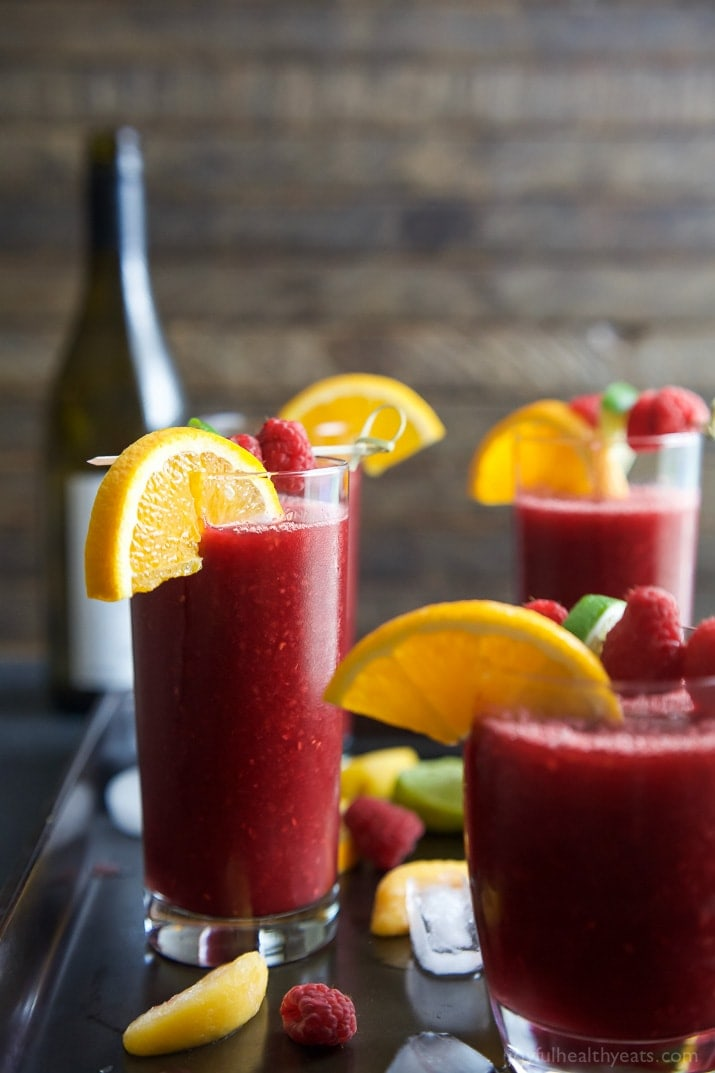 Frozen Raspberry Peach Sangria #sangria #raspberry #drink #peach #cocktail