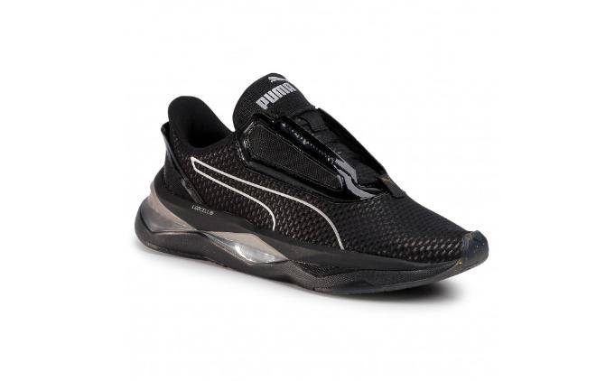 Sneakers PUMA de femei negri cu talpa groasa cu silicon ieftini la moda