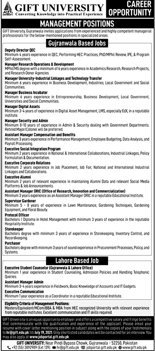 New Jobs in Gift University Gujranwala 2021 - Online Apply