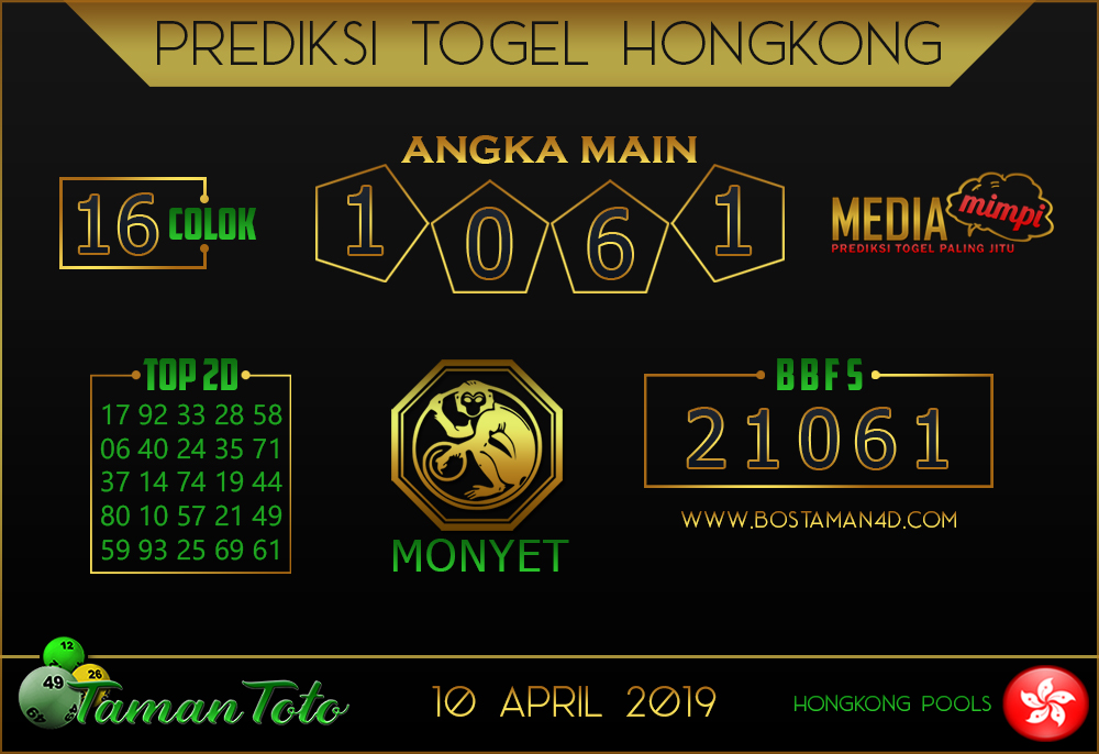 Prediksi Togel HONGKONG TAMAN TOTO 10 APRIL 2019