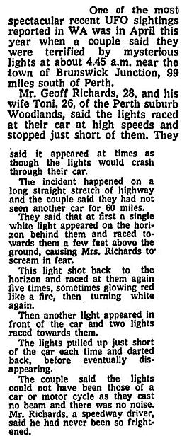 UFOs Chase Car - The Age (Melbourne Australia) 9-14-1971