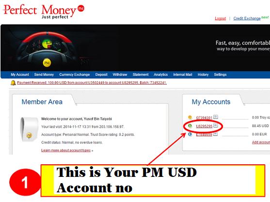 Perfect money account No