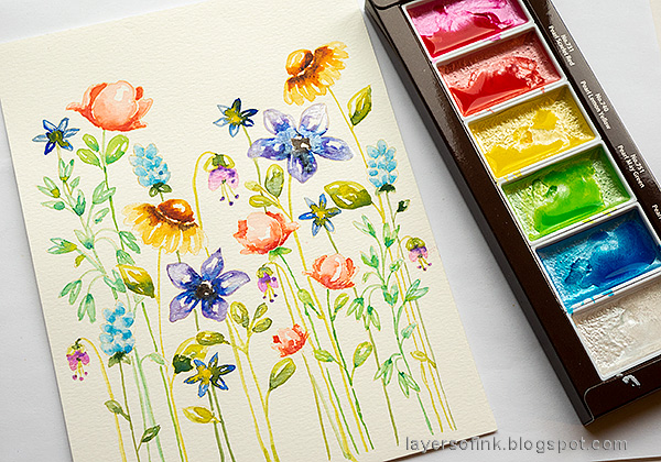 Layers of ink - Watercolor Floral Garden no-line coloring tutorial by Anna-Karin Evaldsson. Add shine with Kuretake Gansai Pearl.