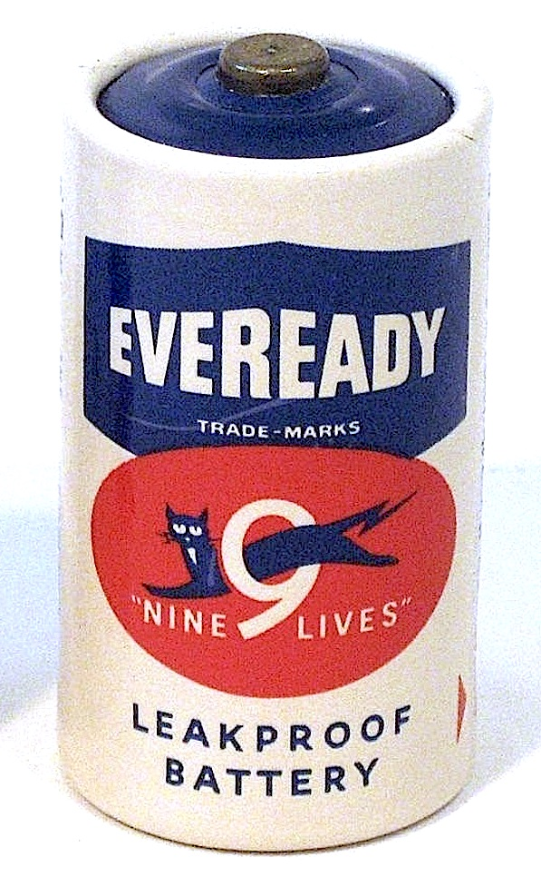 """a 1960s """"Eveready"""" battery with 9 lives"""
