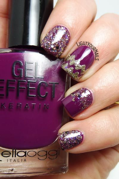 Festive purple glittery nails #nailart #unghie #nails #lightyournails
