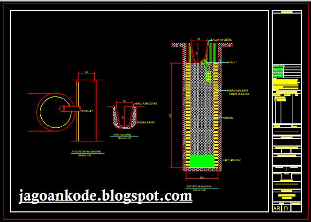 Detail Sumur Resapan Gambar Kerja Autocad File Dwg