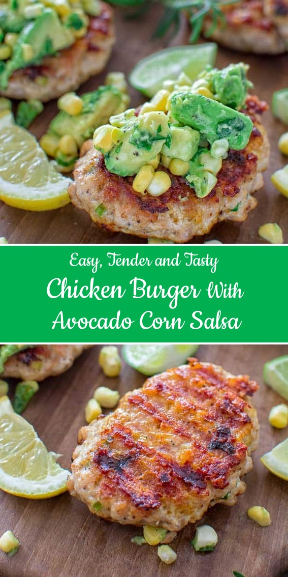 Chicken Burgers with Avocado Corn Salsa #Chicken #Burger #Avocado #Corn #Salsa