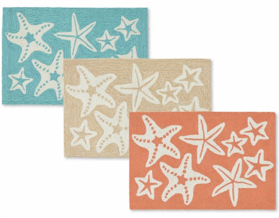Starfish Mats in Aqua, Coral and Beige