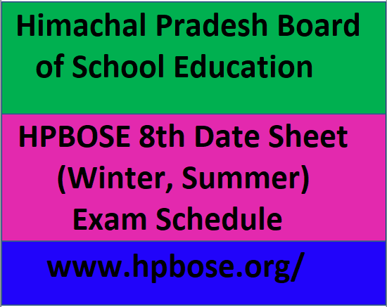 HPBOSE 8th Date Sheet 2021, HP Board 8th Time Table 2021,