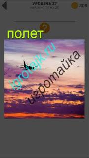 высоко в небе полет самолета  в облаках ответ на 27 уровень 400 плюс слов 2