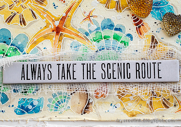 Layers of ink - Watercolor Shells Tutorial by Anna-Karin Evaldsson. Theories Quote Chips.