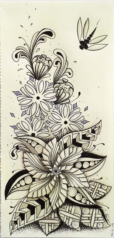 """Inktober 2019 Oct 10-12 with """"Drogon"""" and tangles Windmill, Cubine, Victorian Flake, InaFlux, X's and O's, Floo, Dragonfly, Dragon"""