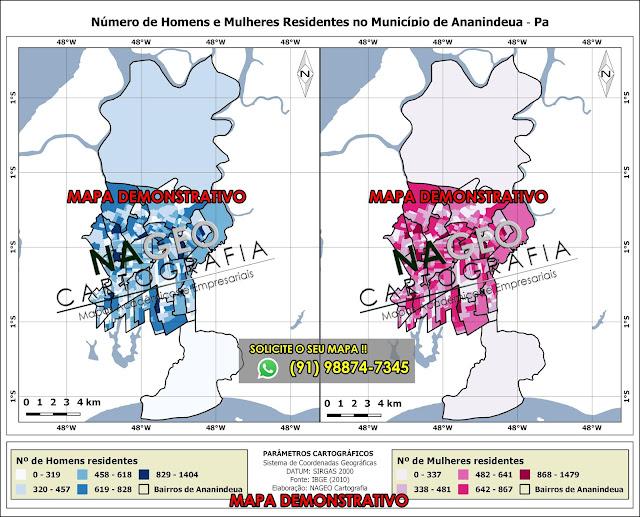 Mapa do Município de Ananindeua Homens e Muheres