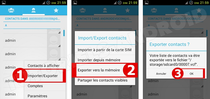 Exporter des contacts sur Android
