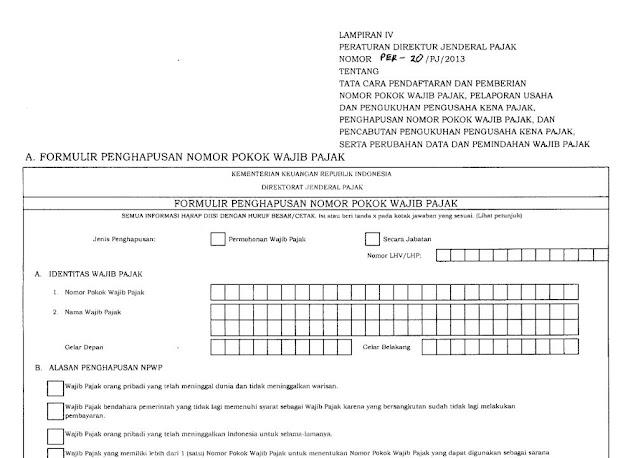 Formulir Penghapusan NPWP